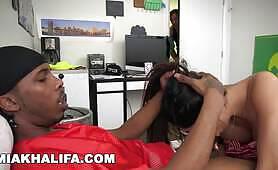 MIA KHALIFA - I Suck The QB's Big Black Cock While His Friend Watches
