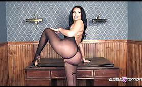 Brunette Valentina in nylon bodystocking on Babestation