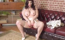 Curvy babe Lucia Love strips off retro lingerie wanks in garter nylon heels